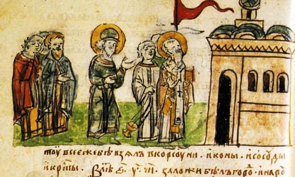Князь Владимир на освящении Десятинной церкви