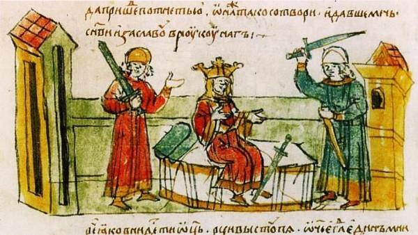 Владимир пытается убить Рогнеду, но её сын, князь Изяслав преграждает ему путь (Миниатюра из Радзивилловской летописи, ХV век)
