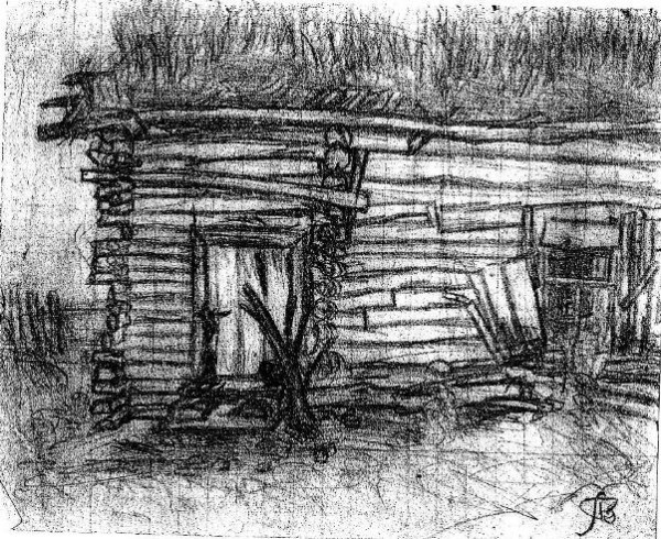 Дом в деревне. Рисунок 1967 года Леонида Вохмякова. Фото: beloedelo.ru