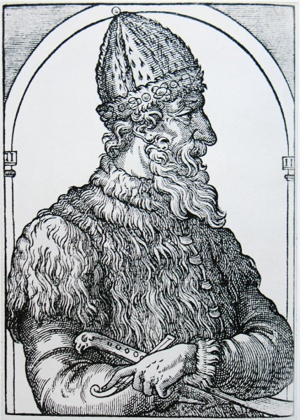Успенский собор. Иван III Васильевич. Гравюра из «Космографии» А. Теве, 1575 год