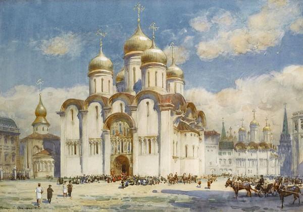 Успенский собор в XIX веке. Картина Генри Чарльза Брюэра