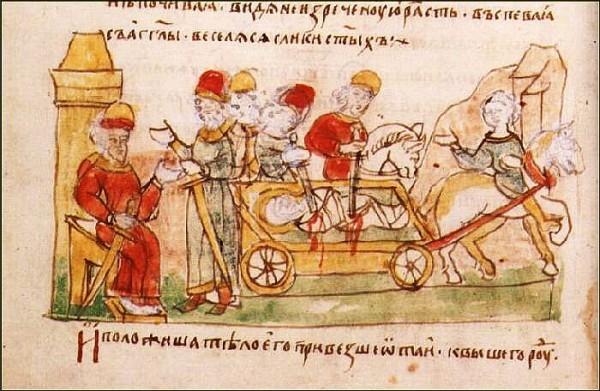 Перевозка на телеге раненого князя Бориса
