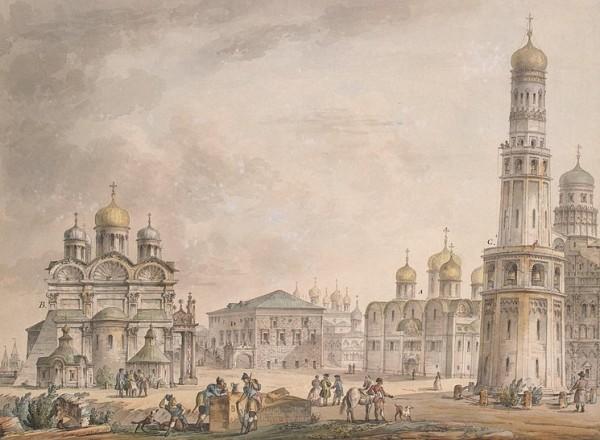 Успенский собор. Соборная площадь Московского Кремля. Акварель Д. Кваренги. 1797