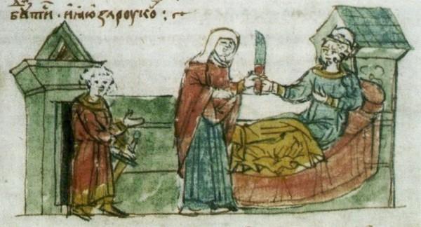 Рогнеда пытается убить спящего Владимира. Иллюстрация из летописи.