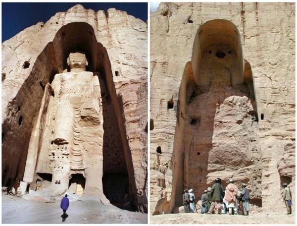 Слева — фото сделанное в 1997 году. Справа — после уничтожения скульптуры