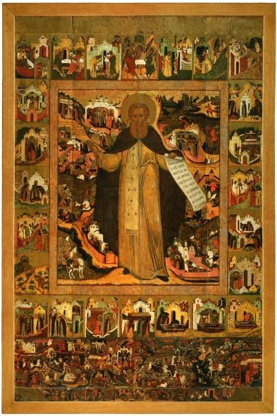 Преподобный Сергий Радонежский. Житийная икона