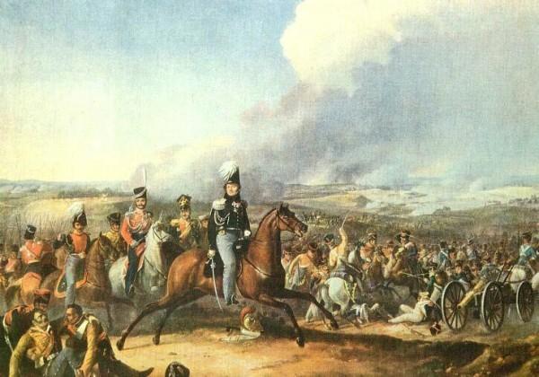 Атака 1-го кавалерийского корпуса генерала Уварова при Бородине. Художник Дезарно
