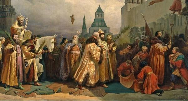 Шествие на осляти Алексея Михайловича. В.Г. Шварц. 1865 г.