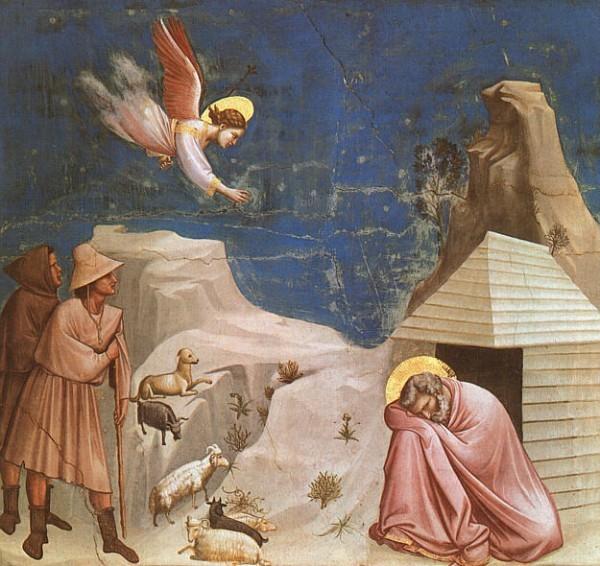 Ангел является к Иоакиму во сне с вестью, что ему на склоне лет будет дарован ребенок (Джотто, фреска в капелле Скровеньи)