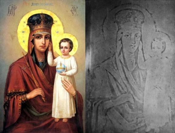 Чудотворный образ Богородицы «Призри на смирение» и его отпечаток на стекле