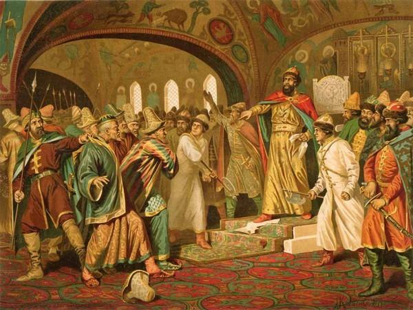 А. Кившенко. «Иван III разрывает ханскую грамоту и басту перед татарскими послами»