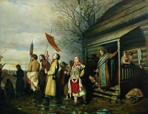 Сельский крестный ход на Пасху. В.Г. Перов. 1861