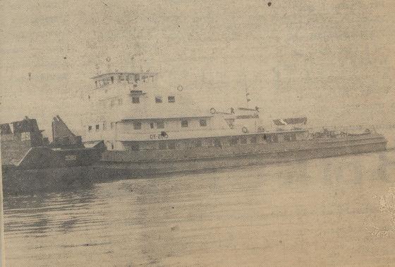 Буксир ОТ-2010, с которого в 1979 году производился размыв захоронения. Фото 1989 года Н. Кандыбы.