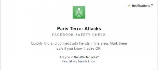 """Фейсбук запустил опцию """"Я в безопасности"""" для жителей Парижа"""
