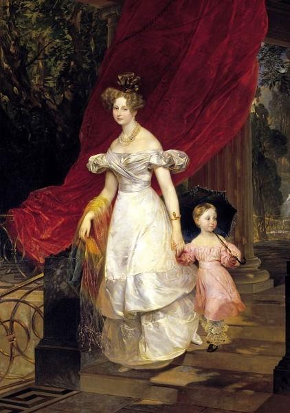 «Портрет Великой княгини Елены Павловны с дочерью Марией». Карл Брюллов. 1830