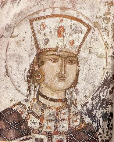 Вардзиа. Фреска на стене Успенского храма