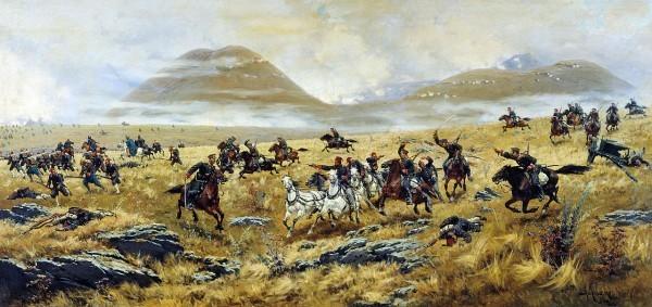 Нижегородские драгуны, преследующие турок по дороге к Карсу