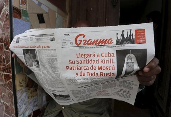 Статья о визите Патриарха Кирилла в кубинской газете. Фото: REUTERS/ Stringer