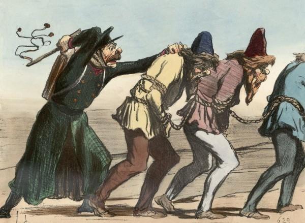 Французская карикатура, изображающая отсталость России