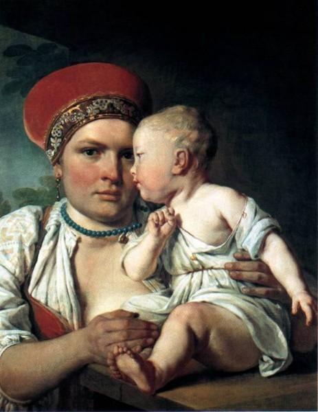 "Алексей Венецианов, ""Кормилица с ребенком"", 1830-е"