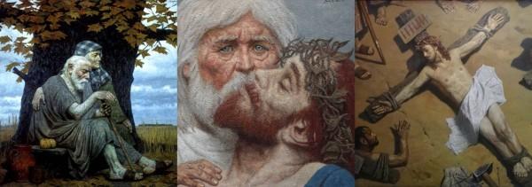 Гелий Коржев «Осень прародителей. Адам и Ева» «Отец и сын» «Распятие»