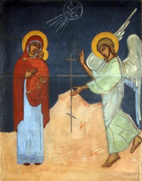 Страстное Благовещение. Фреска сестры Иоанны (Рейтлингер) из храма Св. Иоанна Воина. Франция, Медон