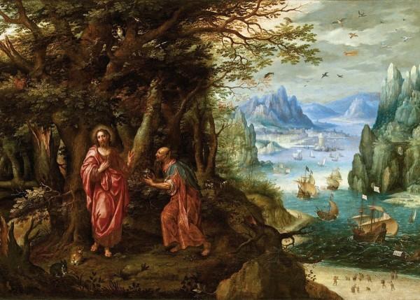 Фрагмент картины «Крещение и искушение Христа» Денис ван Алслоот