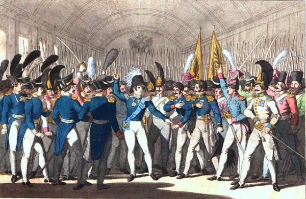 Николай I объявляет своей гвардии о восстании в Польше (1830 год)