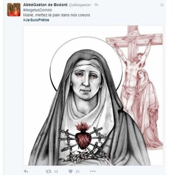 Сообщение в твиттере: «Мария, принеси мир в наши сердца»