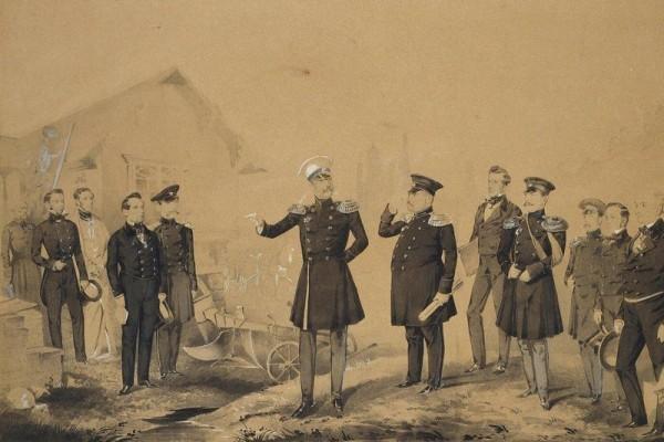 Николай I на строительных работах. Второй справа от императора — придворный архитектор А. И. Штакеншнейдер.