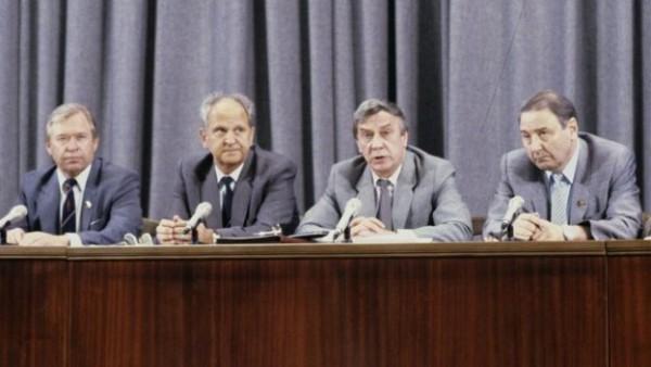 Василий Стародубцев, Борис Пуго, Геннадий Янаев и Олег Бакланов СССР (слева направо) во время пресс-конференции членов ГКЧП 19 августа 1991 года. Фото: РИА «Новости»