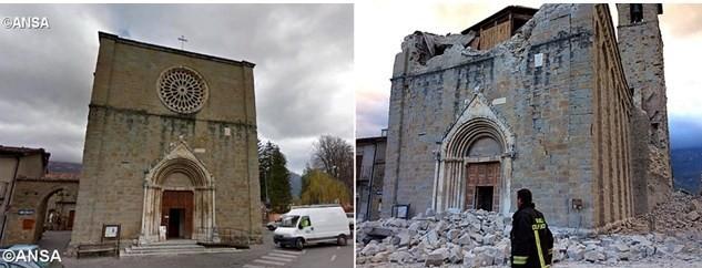 Церковь Святого Франциска в Аматриче до и после землетрясения