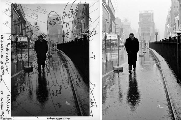 Фото: Деннис Сток, портрет Джеймса Дина (схема печати и результат печати по схеме)