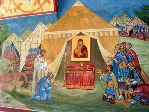 Донская икона Пресвятой Богородицы. Фрагмент фрески