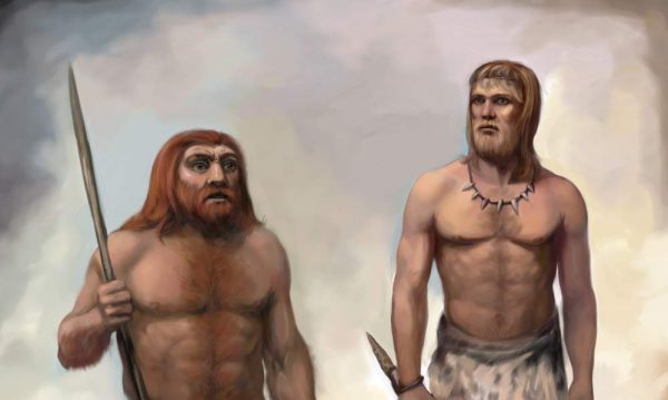 Неандерталец и кроманьонец. Рисунок Николая Ковалева