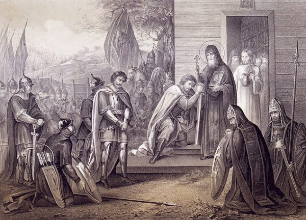 Преподобный Сергий благословляет Димитрия Донского на битву с Мамаем. Литография XIX в.
