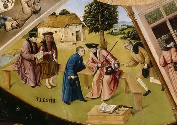 """Иероним Босх. Семь смертных грехов и Четыре последние вещи, 1475-1480. Фрагмент """"Алчность"""""""