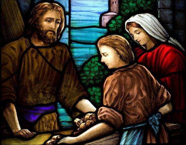 Иисус-плотник. Витраж