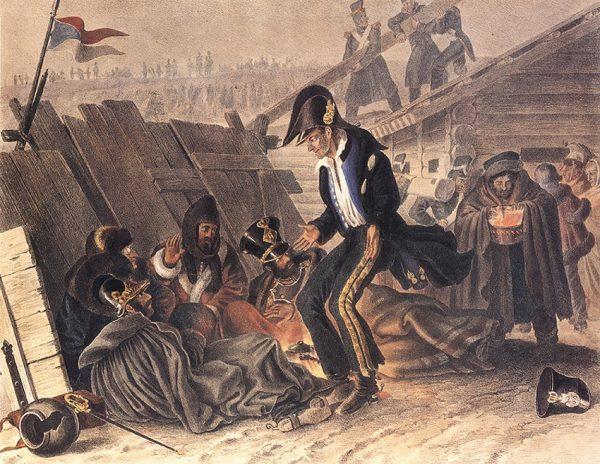 Бивак в Студянке, 26 ноября 1812 года. Художник Христиан Вильгельм Фабер дю Фор