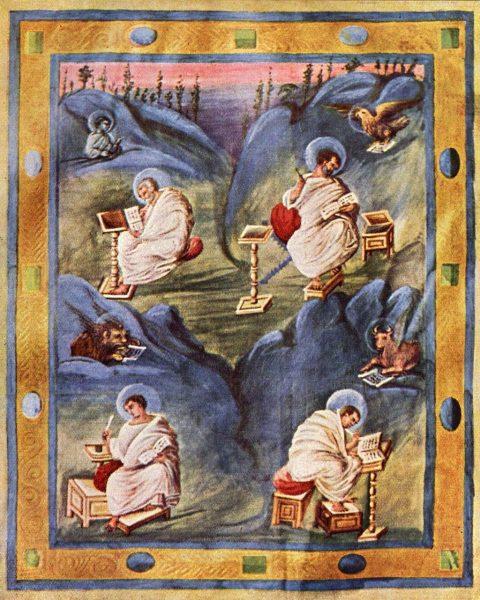 Четыре евангелиста (миниатюра Ахенского Евангелия, ок. 820 года)
