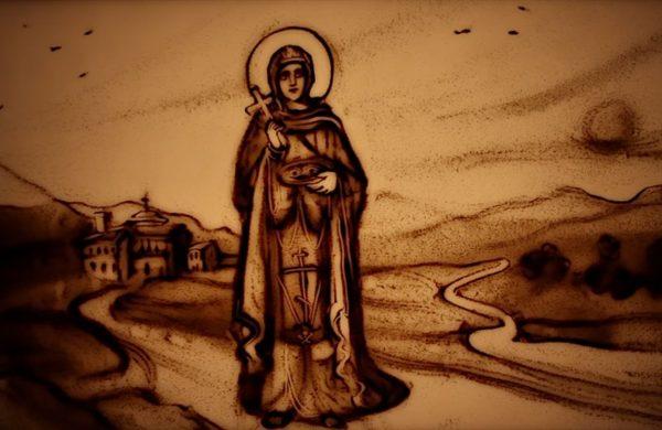Ксения Симонова сняла песочный фильм о Топловской обители святой Параскевы