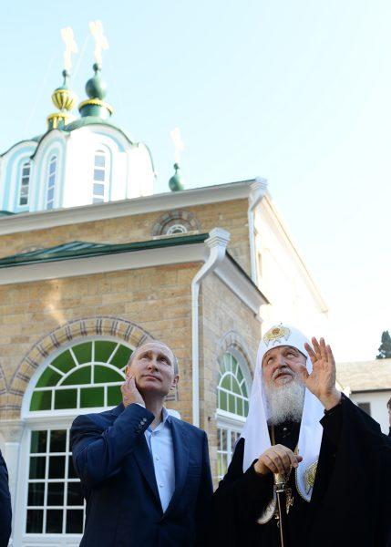 С Президентом России В.В. Путиным в Русском на Афоне Пантелеимоновом монастыре. 28 мая 2016 г.