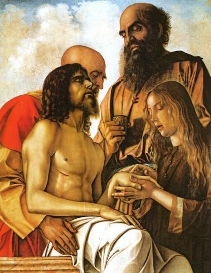 Джованни Беллини. Оплакивание Христа с Иосифом Аримафейским, Никодимом и Марией Магдалиной. Около 1471-1474  Дерево, масло. 107x84 cм. Музеи Ватикана.  Фото: Музеи Ватикана