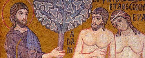 Адам и Ева. Мозайка в храме