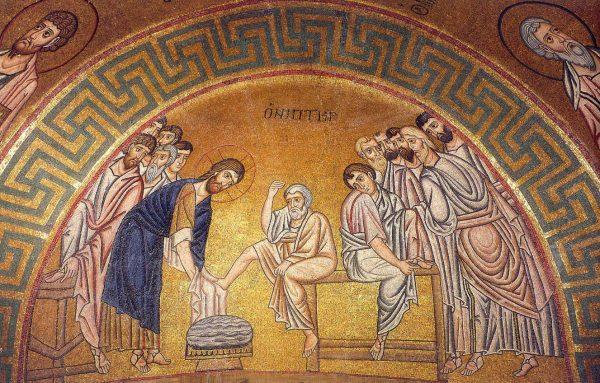 Омовение ног апостолам. Византийская мозаика