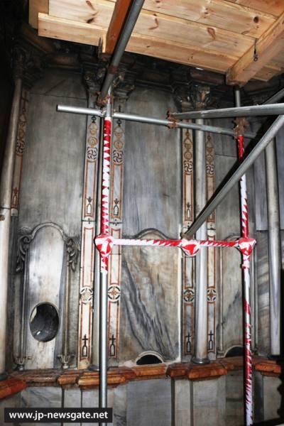 Добавление опалубки для реставрации купола придела Ангела