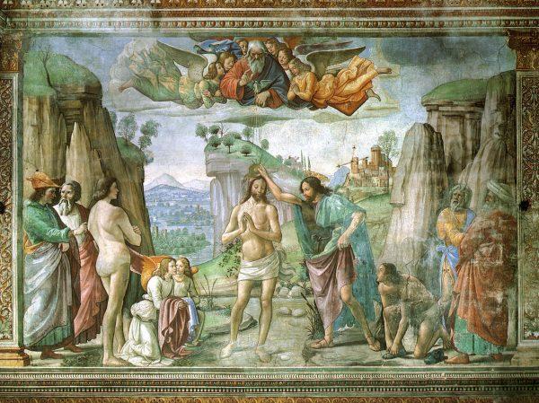 Д. Гирландайо. Крещение Христа. Фреска капеллы Торнабуони, ок. 1485-1490