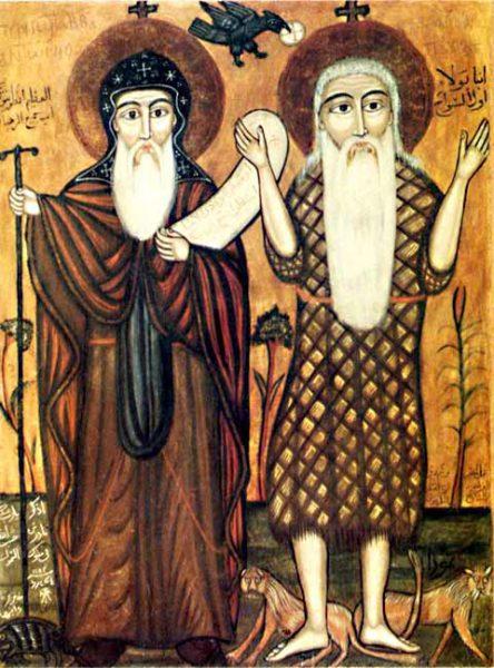 Отцы Антоний Великий и Павел Фивейский. Коптская икона.