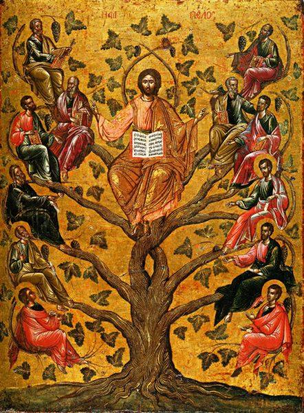 Собор 12 апостолов в виде лозы. Икона XVII века