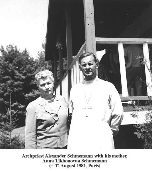 Протопресвитер Александр Шмеман с мамой Анной Тихоновной. Фото: schmemann.org